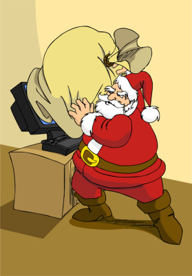 Xmas e-commerce series: Santa Claus trying to use modern internet technology to send the gifts.